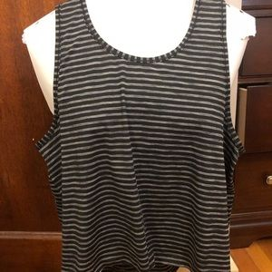 Athleta Chi Racerback Tank in Gray & Black Stripes